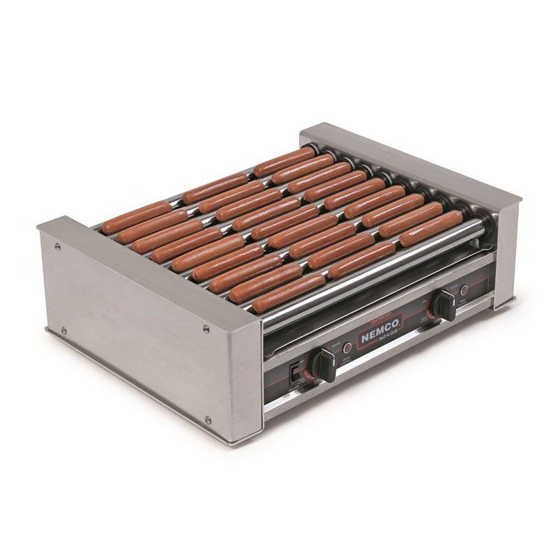 Nemco 8027 Hot Dog Grill w/ Chrome Rolls & 27-Hot Dog Capacity, 120/1 V