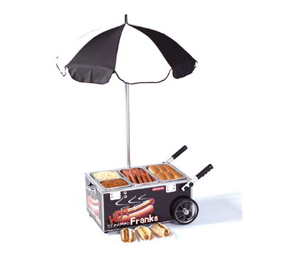 Nemco 6550-SF3 Mini Countertop Hot Dog Steamer Cart w/ Pan Configuration Three, Stainless, Black