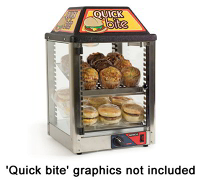 Nemco 6457 Heated Snack Merchandiser w/ 2-Racks, Magnetic Door Closure, 22x14x14-in, 120/1V