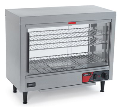 Nemco 6460 Heated Display Case w/ Sliding Doors, 3- Shelves & 23.75x28.13x13.06-in, 6.8-amp