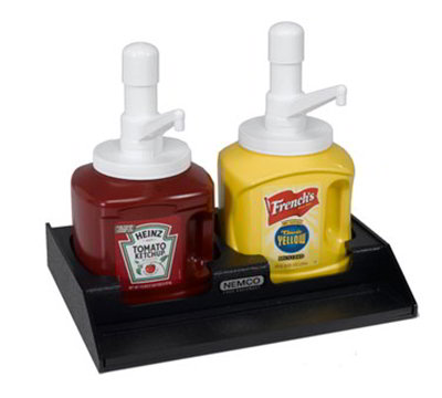 Nemco 88500-CO2 Ketchup Mustard Condiment Organizer w/ 2-Sections, Black