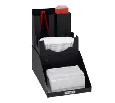 Nemco 88500-CO4 Hot Dog Tong & Boat Organizer w/ Napkin Holder & 4-Sections, Black