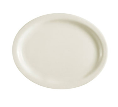 "CAC International NRC12 9-1/2"" NRC Oval Platter - Narrow Rim, Ceramic, American White"