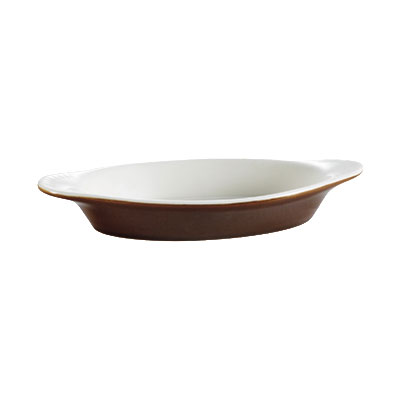 CAC International COA8B 8-oz Welsh Rarebit Oval Baking Dish -Ceramic, Brown/American White