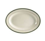 "CAC International GS14 12.5"" Greenbrier Oval Platter - Rolled-Edge Ceramic, Green Band/American White"