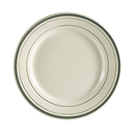 "CAC International GS8 9"" Greenbrier Dinner Plate - Rolled-Edge Ceramic, Green Band/American White"