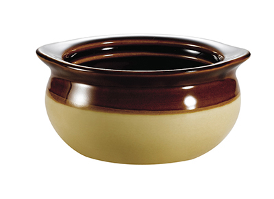 CAC International OC12C 12-oz Accessories Onion Soup Crock - Ceramic, Cream/Brown