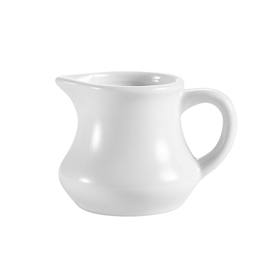 CAC International PC4 4-oz Accessories Creamer with Handle - 4-oz, Porcelain, Super White