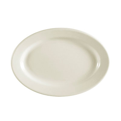 "CAC International REC34 9.4"" REC Oval Platter - Ceramic, American White"