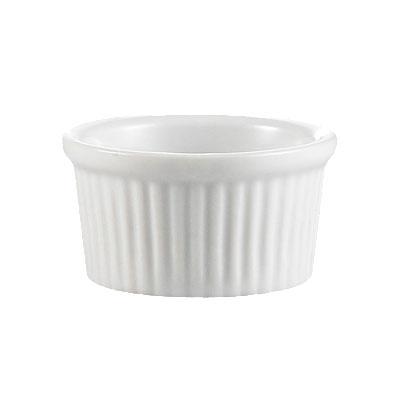 CAC RKF3W Ramekin Fluted 3 oz White Restaurant Supply