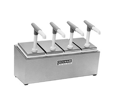 Grindmaster - Cecilware 344G Condiment Rail w/ 3-Giant Pumps, 2.5-qt Jars & Covers, 1-oz Portion Capacity