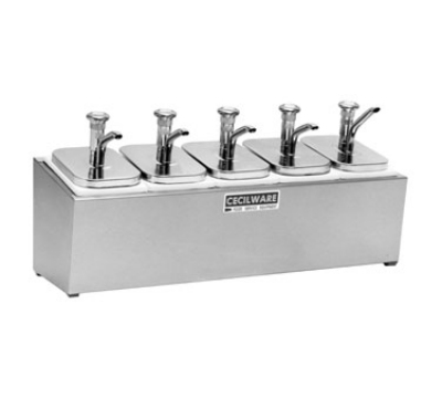Grindmaster - Cecilware 544M Condiment Rail, 5-Metal Pumps, 2.5-qt Jars, Covers, Non-Insulated