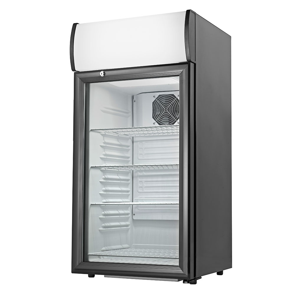 Grindmaster - Cecilware CTR2.68LD Countertop Display Refrigerator, Reach In, 4 Shelves, Black Finish