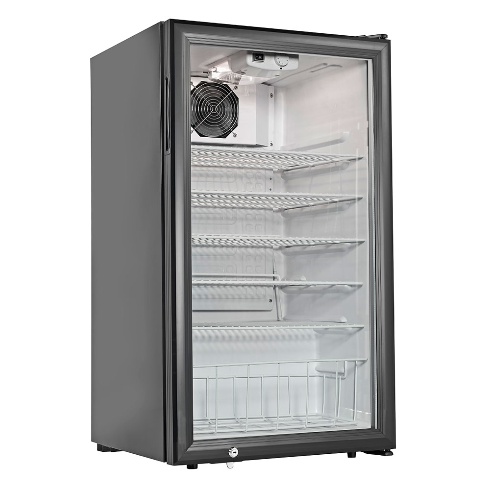 Grindmaster - Cecilware CTR3.75 Countertop Display Refrigerator, Reach In, 5 Shelves, Black Finish