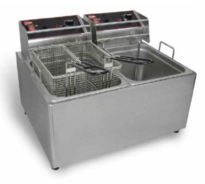 Grindmaster - Cecilware EL2X15 Countertop Split Pot Fryer, 15 lb. Fat Capacity Each, Stainless, 120 V