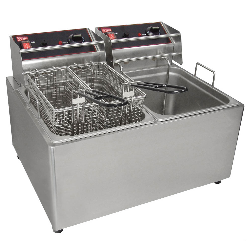 Grindmaster - Cecilware EL2X25 Countertop Split Pot Fryer, 15 lb. Fat Capacity Each, Stainless, 240 V