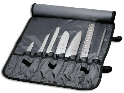 Mercer Cutlery M21820 Millennia High Carbon Knife Set w/ Nylon Roll, 8-Piece