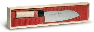 Mercer Cutlery M24407 7-in Santoku Knife w/ Granton Edge and Balsam Wood Handle