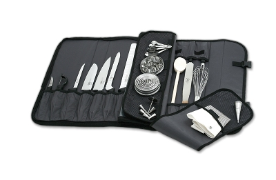 Mercer Cutlery M30217M 17-Pocket Heavy-Duty Nylon Knife Case w/ Shoulder Strap, 21 x 11 x 2-in