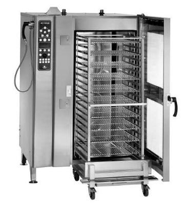 Alto Shaam 20-20ESG/S NG Floor Model Oven Steamer Combo w/ Roll-In Cart, Stainless, NG