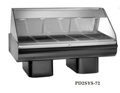 Alto Shaam PD2SYS-72/P-SS 230 72-in Display Case, Pedestal Base & 36-in Work Shelf, Stainless, Export