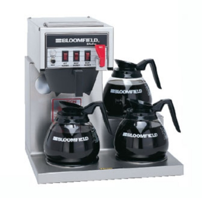 Bloomfield 8572D3F Koffee King Coffee Brewer w/ Faucet, 3-Lower Warmers, Step Right