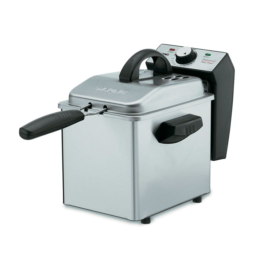 Waring DF55 2-qt Mini Deep Fryer w/ Mesh Basket, Brushed Stainless/Black