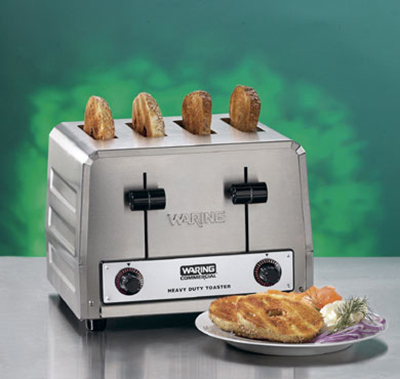 Waring WCT815B 4-Slice Heavy Duty Commercial Toaster w/ 2-Wide Slots & 380-Slice/hr, 208V