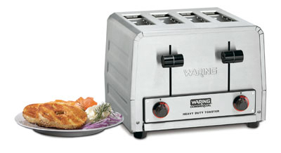 Waring WCT820 4-Slice Heavy Duty Bagel Toaster w/ 4-Extra Wide Slots & 380-Slice/hr, 120V