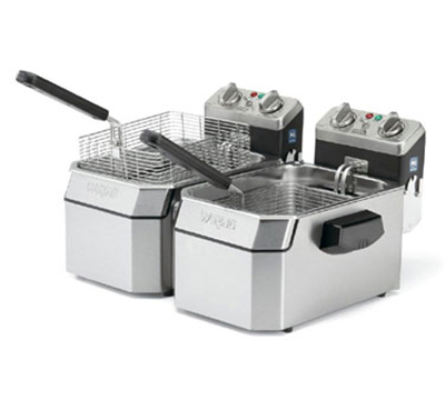 Waring WDF1000BD Countertop Double Deep Fryer w/ 17-lb Capacity Each & 6-Baskets, Timer, 208V
