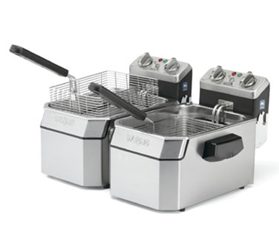 Waring WDF1550D Countertop Double Deep Fryer w/ 15-lb Capacity Each & 3-Baskets, Timer, 240V