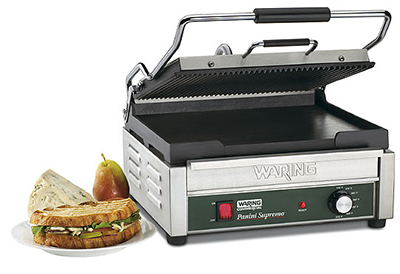 Waring WDG250 Dual Surface Panini Grill w/ Ribbed Plates & Adjustable Thermostats