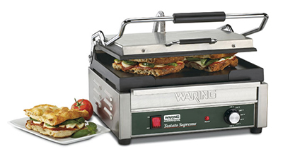 Waring WFG250 Large Toasting Grill w/ Flat Cast Iron Plates & Adjustable Thermostats
