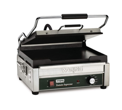 Waring WFG275 Full-Size Panini Grill w/ Flat Cast Iron Plates & Adjustable Thermostats