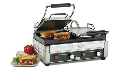 Waring WFG300 Dual Toasting Grill w/ 2-Surfaces & Flat Cast Iron Plates, Adjustable Thermostats