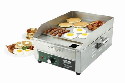 Waring WGR140 Countertop Griddle w/ Adjustable Thermostat & Splash Guards, 14x16-in