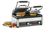 Waring WPG300 Dual Panini Grill w/ Ribbed Cast Iron Plates, 18.75x15.5-in, 240V