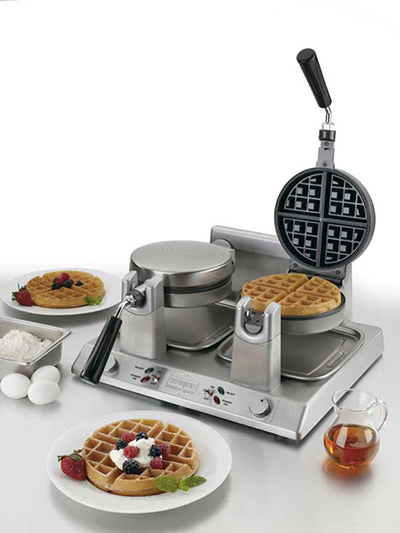 Waring WW250 Double Belgian Waffle Maker w/ LED Indicator & Non-Stick Plates, 120V