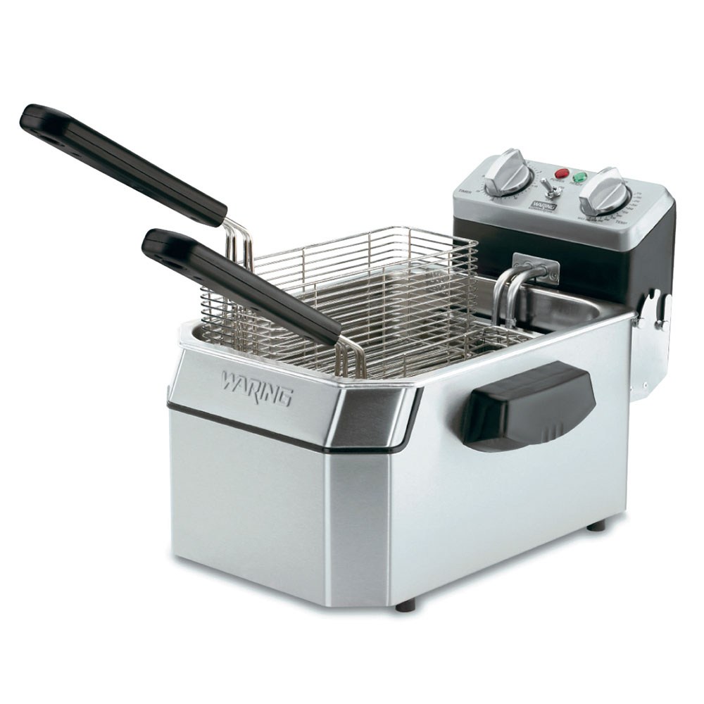 Waring WDF1550 Countertop Single Deep Fryer w/ 15-lb Capacity & 3-Baskets, Timer, 240V