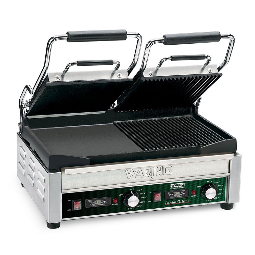 Waring WDG300T Dual Surface Panini Grill w/ Ribbed Top & Flat Bottom, 17x9.25-in Cooking Surface, 240V