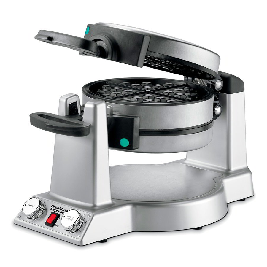 Waring WMR300 Waffle Omelet Maker w/ Rotary Feature, 2-Thermostats & Browning Control Knobs