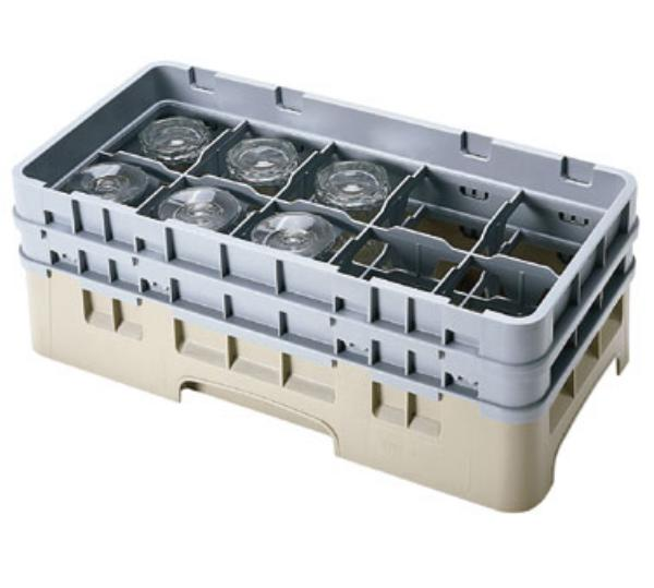 Cambro 10HS1114119 10 Compartment Half Size Camrack Glass Rack with 6 Extenders Sherwood Green Restaurant Supply