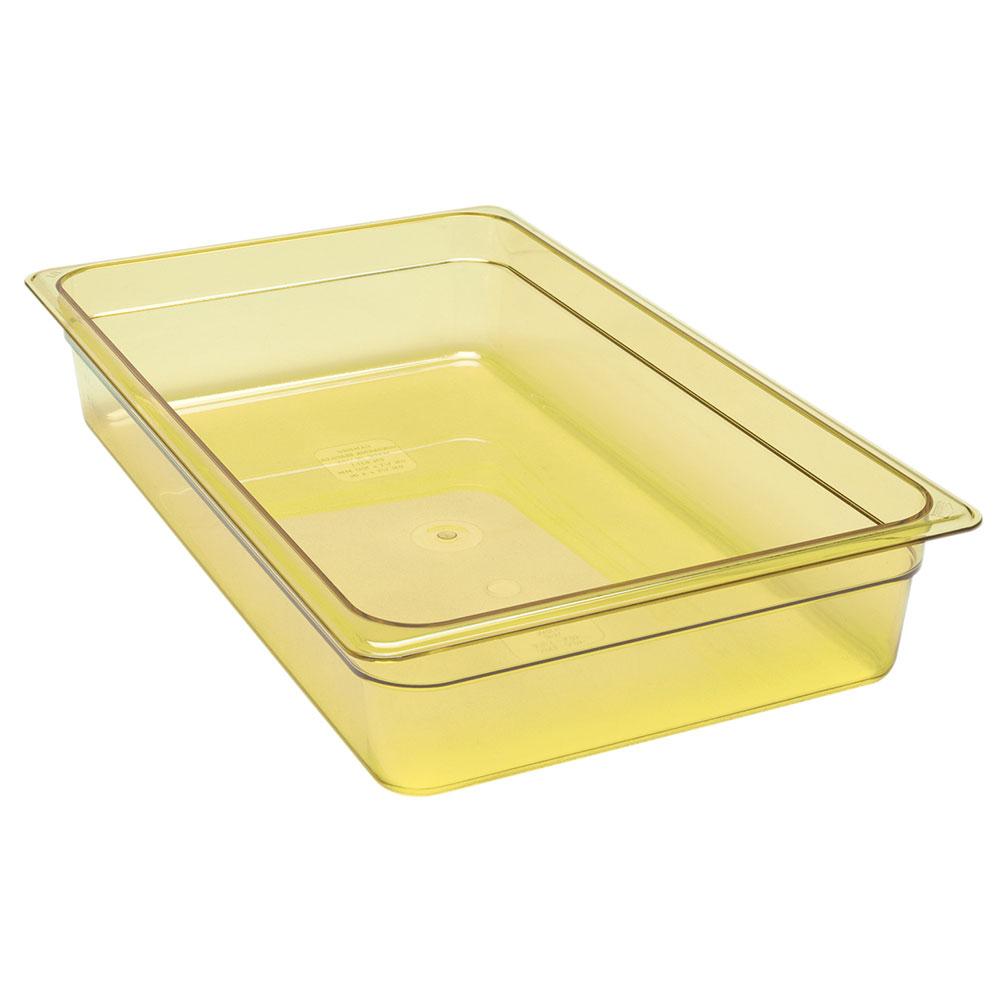 """Cambro 14HP150 H-Pan Hot Food Pan - Full Size, 4""""D Non-Stick, Amber"""