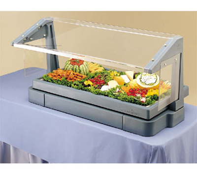 Cambro BBR720158 Tabletop Salad Bar - 5-Pans, Ice Pan, Sneeze Guard, Hot Red