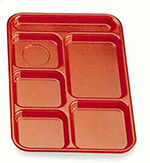 "Cambro PS1014416 Rectangular Penny-Saver School Tray - 6-Compartment, 10x14-1/2"" Cranberry"