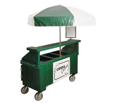 Cambro CVC72158 Camcruiser Vending Cart -(3)Full-Size Wells, Umbrella, Red/White
