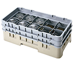 Cambro 10HS318184 Camrack Glass Rack with Extender - 10-Compartments, Beige