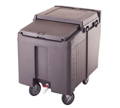 "Cambro ICS125L131 Mobile SlidingLid Ice Caddy - 125-lb Capacity, 5"" Castors, Dark Brown"