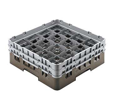 "Cambro 16S738151 Camrack Glass Rack - (3)Extenders, 16-Compartment, 7-3/4""H Soft Gray"