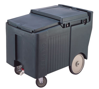 "Cambro ICS175L110 Mobile SlidingLid Ice Caddy - 175-lb Capacity, 5"" Castors, Black"